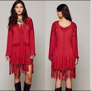 ✨Free People Shipwreck Cove Deep Red Fringe Dress